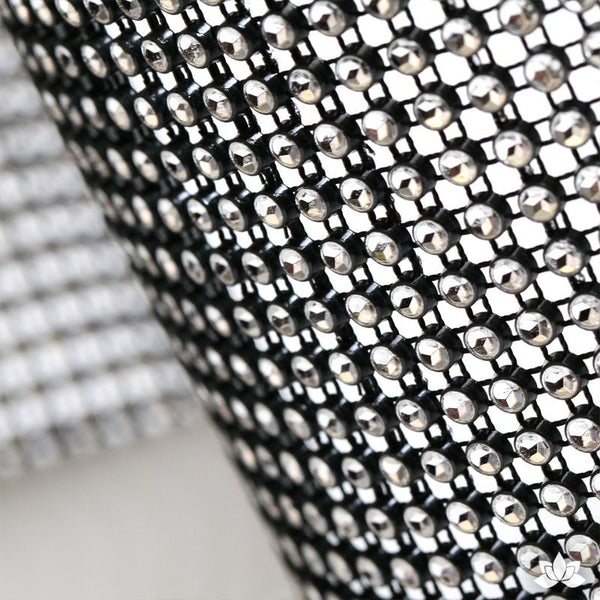 Black Glam Ribbon - Cake Wrap  Add bling to your cake with Glam Ribbon Diamond Cake Wraps. Perfect for cake decorating rolled fondant cakes & wedding cakes. Cake decoration. Diamond Mesh.