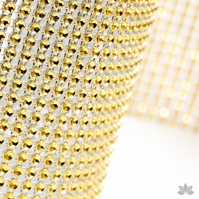Add bling to your cake with Glam Ribbon Diamond Cake Wraps. Perfect for cake decorating rolled fondant cakes & wedding cakes. Cake decoration. Diamond Mesh. Gold Glam Ribbon - Cake Wrap