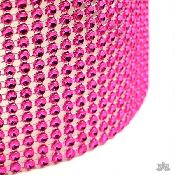 Add bling to your cake with Glam Ribbon Diamond Cake Wraps. Perfect for cake decorating rolled fondant cakes & wedding cakes. Cake decoration. Diamond Mesh.  Hot Pink Glam Ribbon - Cake Wrap