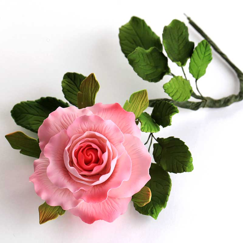 Dainty Rose Spray with Leaves