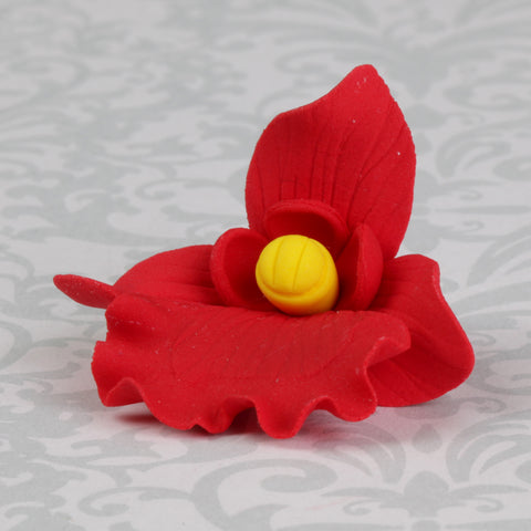 Red Butterfly Orchid handmade gumpaste cake decoration.