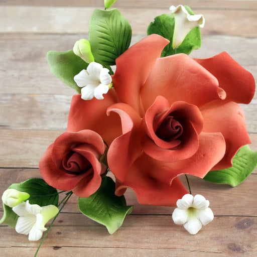 Rose Sugarflower Spray gumpaste cake topper perfect for cake decorating fondant cakes and wedding cakes.  Wholesale bakery supply.