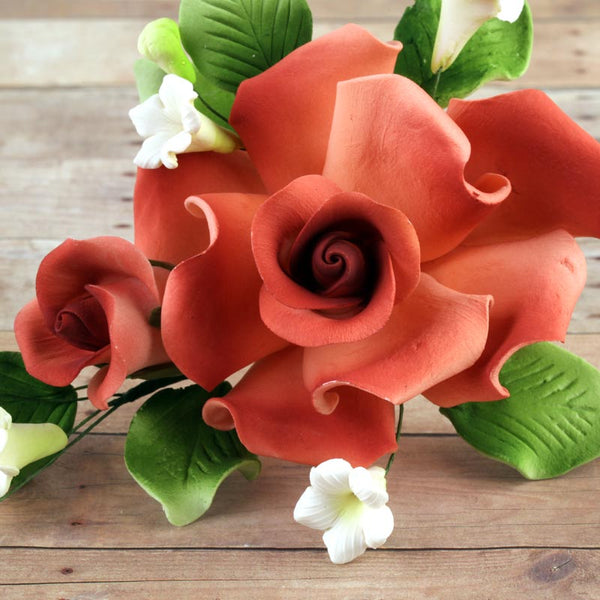 Burnt Orange Rose Sugarflower Spray gumpaste cake topper perfect for cake decorating fondant cakes and wedding cakes.  Wholesale bakery supply.