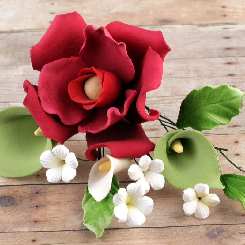 Magenta Rose Sugarflower Spray gumpaste cake topper perfect for cake decorating fondant cakes and wedding cakes.  Wholesale bakery supply.