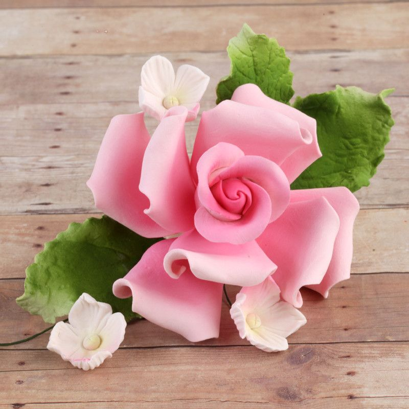 Pink Rose Sugarflower Spray gumpaste cake topper perfect for cake decorating fondant cakes and wedding cakes.  Wholesale bakery supply.