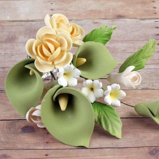 Yellow Rose Sugarflower Spray gumpaste cake topper perfect for cake decorating fondant cakes and wedding cakes.  Wholesale bakery supply.