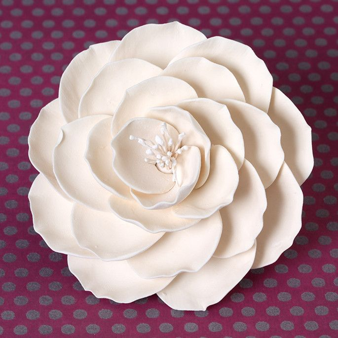 Large Ivory Gumpaste Briar Rose handmade cake decoration.