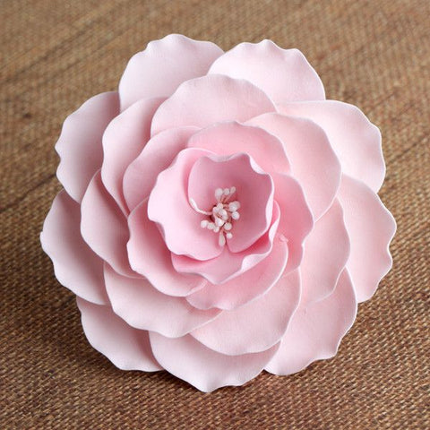 Large Pink Gumpaste Briar Rose sugarflower handmade cake topper perfect for cake decorating fondant cakes & wedding cakes.  Wholesale sugarflower. Caljava. FondX