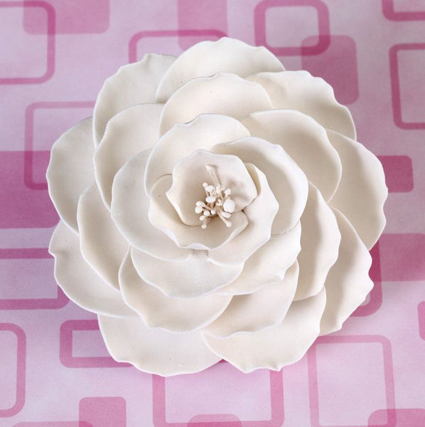 Large White Gumpaste Briar Rose handmade cake decoration.