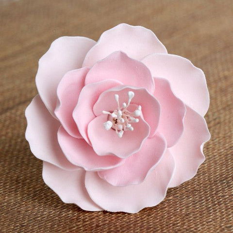 Medium Pink Gumpaste Briar Rose sugarflower handmade cake topper perfect for cake decorating fondant cakes & wedding cakes.  Wholesale sugarflower. Caljava. FondX