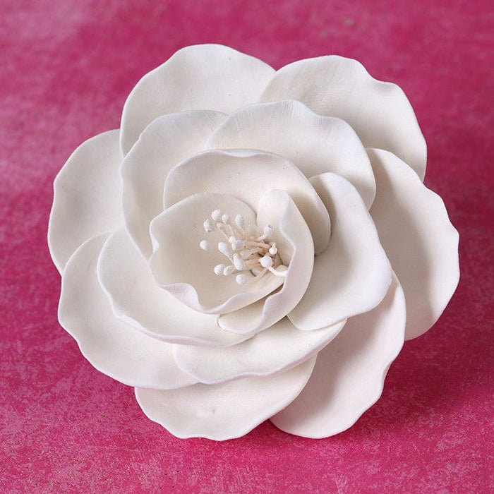 Medium White Gumpaste Briar Rose handmade cake decoration.