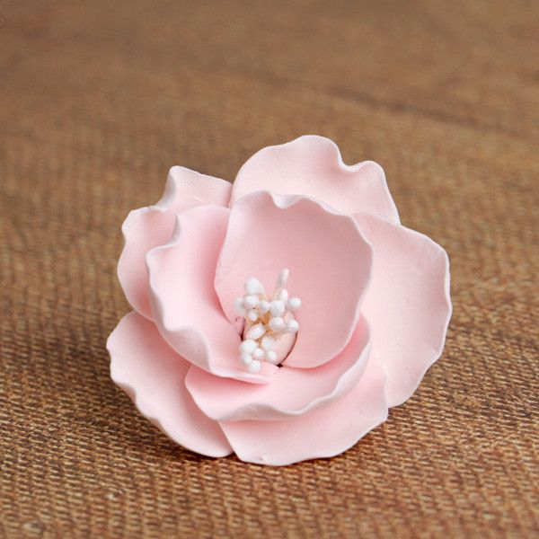 Small Pink Gumpaste Briar Rose sugarflower handmade cake topper perfect for cake decorating fondant cakes & wedding cakes.  Wholesale sugarflower. Caljava. FondX