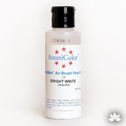Bright White AmeriMist Air Brush Color 4.5 oz is a highly concentrated air brush color perfect for coloring non-dairy whipped icing, toppings, rolled fondant, gum paste flowers, and buttercream. Wholesale edible air brush color.