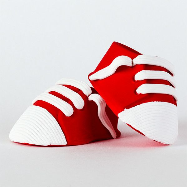 Edible Red All-Star Baby Shoes (Sneakers) handmade from fondant. Mini handmade fondant baby shoes perfect for cake decorating baby shower cakes easily. Works with Cake decorating baby shower cupcakes. Baby shoe