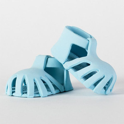Edible Pink Blue Sandals handmade from fondant. Mini handmade fondant baby shoes perfect for cake decorating baby shower cakes easily. Works with Cake decorating baby shower cupcakes. Baby shoe