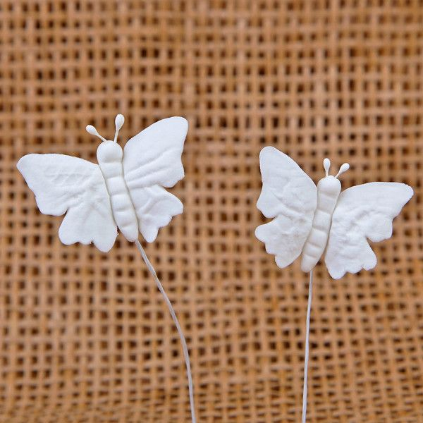 Small Embossed Butterflies - White