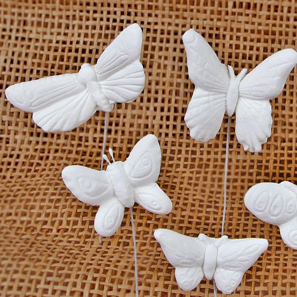 Assorted Small Butterflies - White