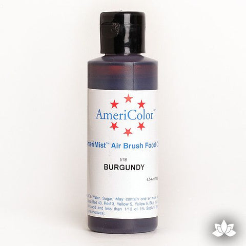 Burgundy AmeriMist Air Brush Color 4.5 oz is a highly concentrated air brush color perfect for coloring non-dairy whipped icing, toppings, rolled fondant, gum paste flowers, and buttercream. Wholesale edible air brush color.