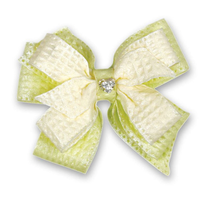 Bow with Gem - Light Green & White