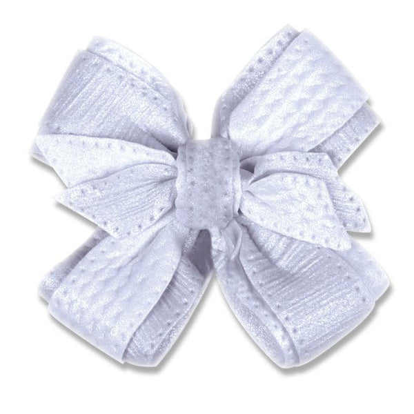 Embossed Bow - White