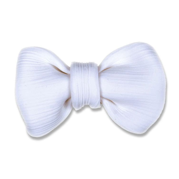 Small Fabric Bow - White