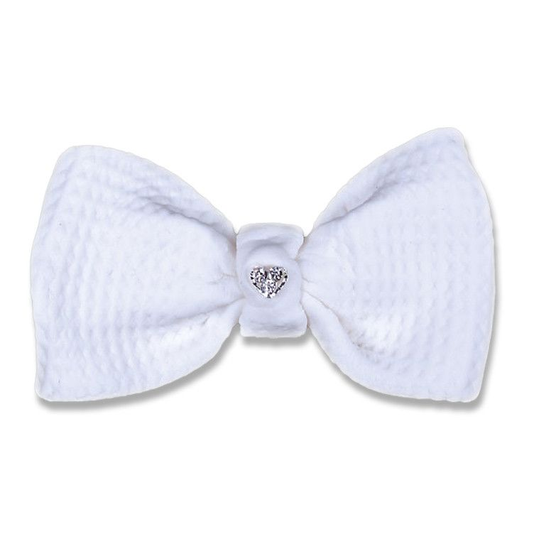Bow with Gem Center - White