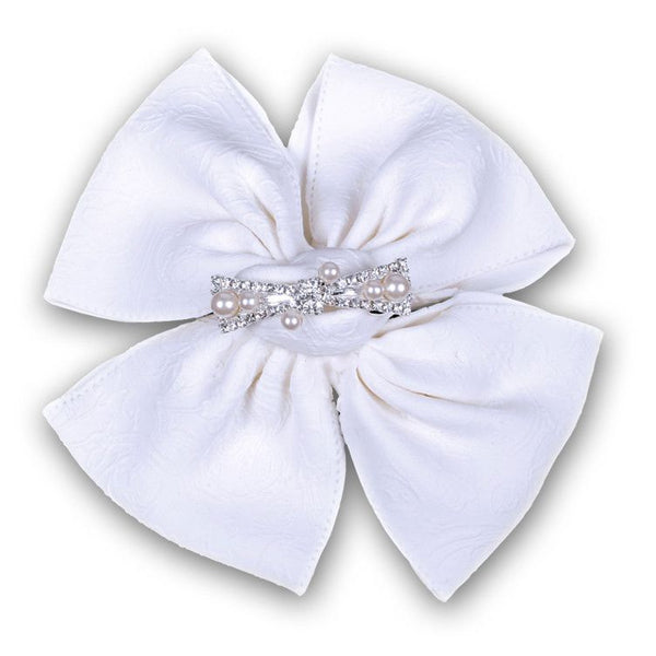 Extra Large Bow with a Jewel Center - White