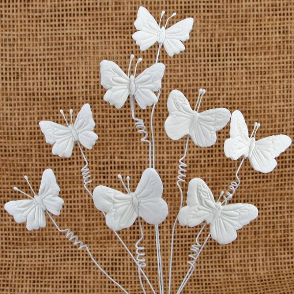 Applique Textured Butterflies with Curlicues - White