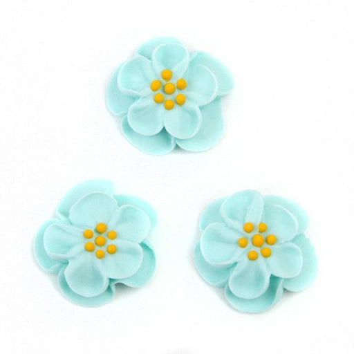 Dainty Bess Tea Rose Royal Icing Decorations - Blue