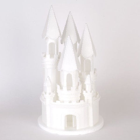 Top your beautiful cake with these Styrofoam Castles.  Each castle comes preassembled and is very light weight.  Easily airbrush, pipe on with butterc