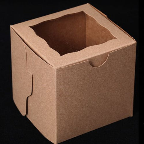 Single Cupcake Boxes with Inner Holders - Natural/Brown