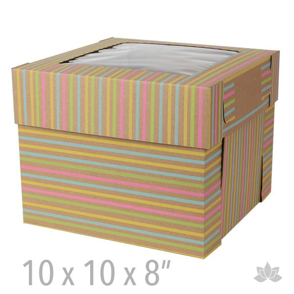Tall Window Cake Box - Stripes