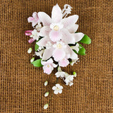 Double Tropical Orchid Sprays in Pink are gumpaste sugarflower cake decorations perfect as cake toppers for cake decorating fondant cakes and wedding cakes. Caljava wholesale cake supply.