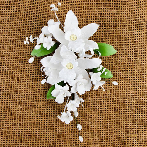 Double Tropical Orchid Sprays - White