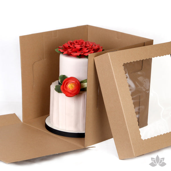 "Transport your two tiered or 3D cakes safely with a Tall 12"" Window Cake Box. Disposable Cake Box."