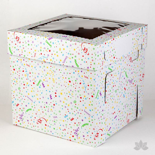 "Transfer your two tiered or 3D cakes safely with a Tall 12"" Window Cake Box in fun Confetti print"