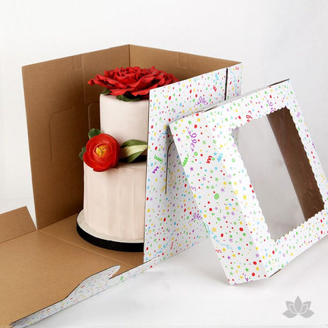 "Transfer your two tiered or 3D cakes safely with a Tall 10"" Window Cake Box in fun Confetti print"