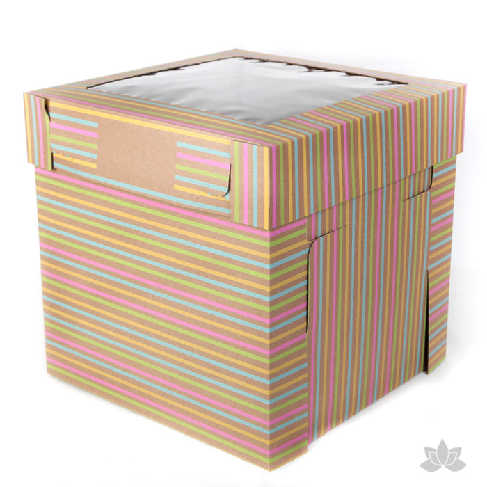"Transfer your two tiered or 3D cakes safely with a Tall 12"" Window Cake Box in Striped print"