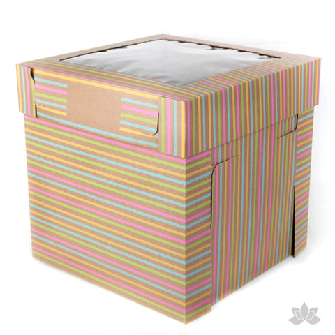 "Tall Window Cake Box 12"" - Stripe"