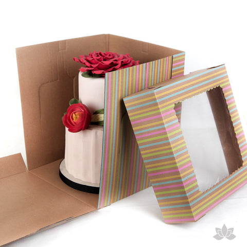 "Tall Window Cake Box 10"" - Stripe"