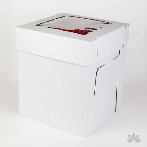 "Transfer your two tiered or 3D cakes safely with a Tall 10"" Window Cake Box"