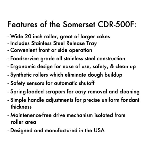 "Somerset Dough & Fondant Sheeter 20"" (CDR-500F)"