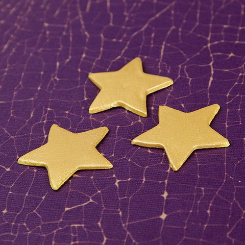 Edible Fondant Gold Star CupCake Toppers perfect for christmas cakes & cupcakes.
