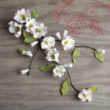 White Cherry Blossom & leaf sprays handmade cake decorations (2 sizes). Wholesale cake supply.  Caljava