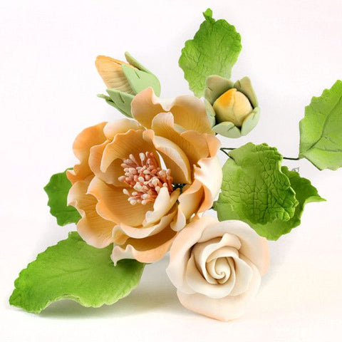 Yellow Chicago Rose Spray Sugarflower cake decoration perfect for cake decorating fondant cakes.  Wholesale sugarflower cake supply. Caljava