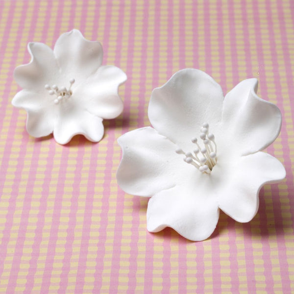 Large White Cherry Blossoms handmade cake decorations (2 sizes). Wholesale cake decoration supply. Caljava