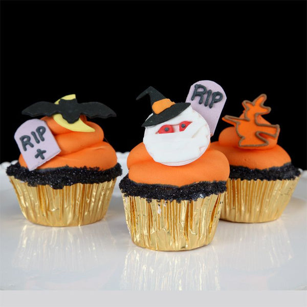 Halloween Cupcake Toppers perfect for cake decorating fun cupcakes and fondant cakes.  Wholesale cake decoration supply.