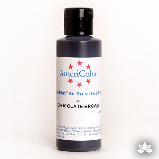 Chocolate Brown AmeriMist Air Brush Color 4.5 oz is a highly concentrated air brush color perfect for coloring non-dairy whipped icing, toppings, rolled fondant, gum paste flowers, and buttercream. Wholesale edible air brush color.