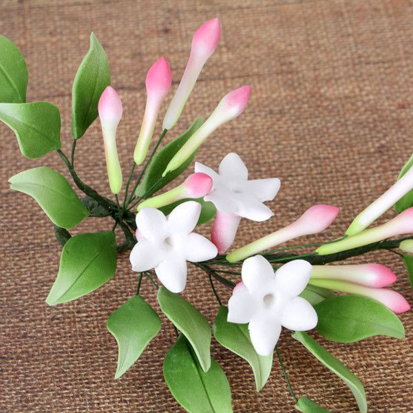 Summer Gumpaste Jasmine Sugarflower Spray cake topper perfect for cake decorating fondant cakes & wedding cakes.  Wholesale cake decorations.