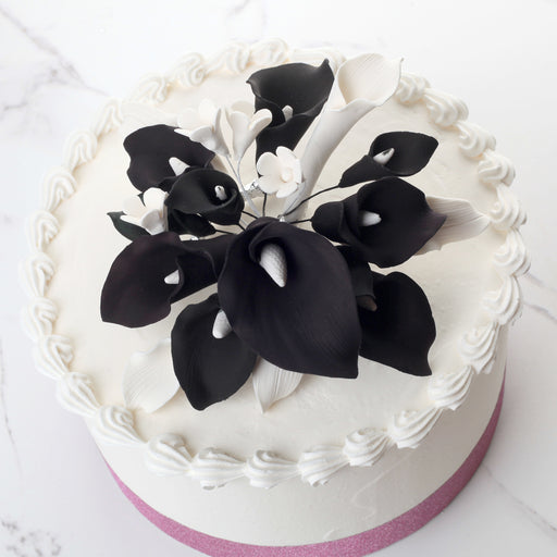 Black & White Calla Lily Cake Topper - Medium